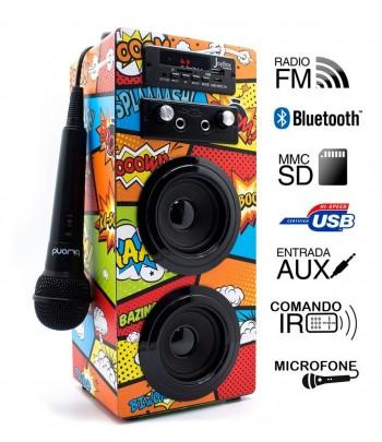 Coluna + Radio + BlueTooth + Microfone Joybox - Comic BD